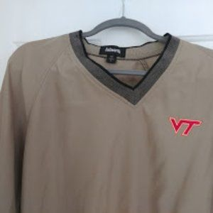 Golf Outerwear: Beige-Large-Va. Tech Logo Ashworth